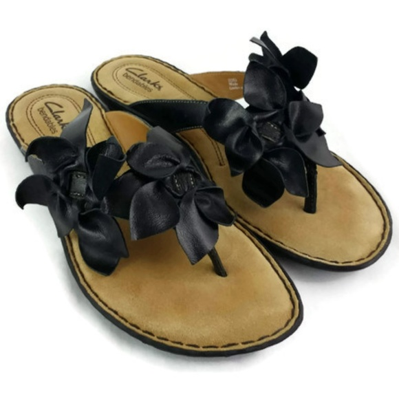 113a1018834fe3 Clarks Shoes - Clarks Bendables Black Leather Floral Thong Sandal